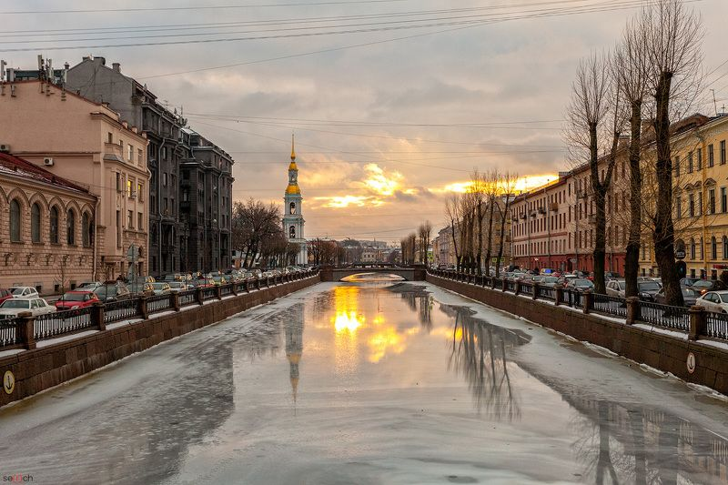 санк-петербург, питер, зима, канал, лед, петербург, утро, восход, небо Зимнее утроphoto preview
