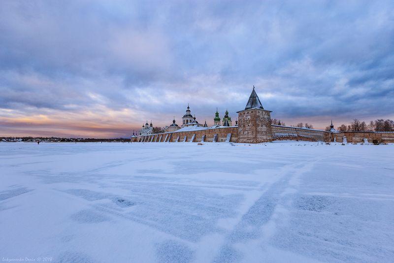 2018, россия, кириллов, зима, утро, лед, снег, небо, монастырь ***photo preview