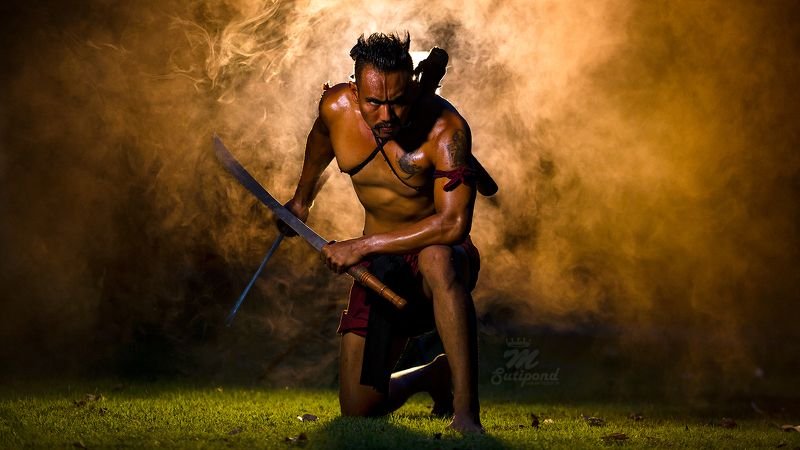 warlord,man,portrait, warrior,Thai,fight, warlord photo preview