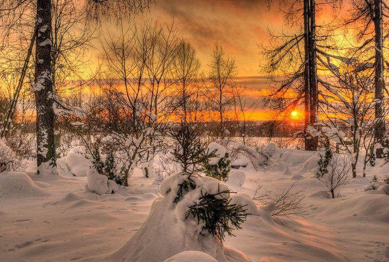 хдр, пейзаж, закат Зимний закат.photo preview