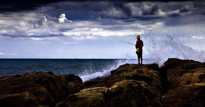 море, рыбалка, мужик Мужик и мореphoto preview