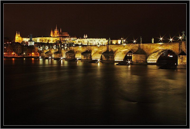 ночной, город, прага, карлов, мост Карлово созвездиеphoto preview