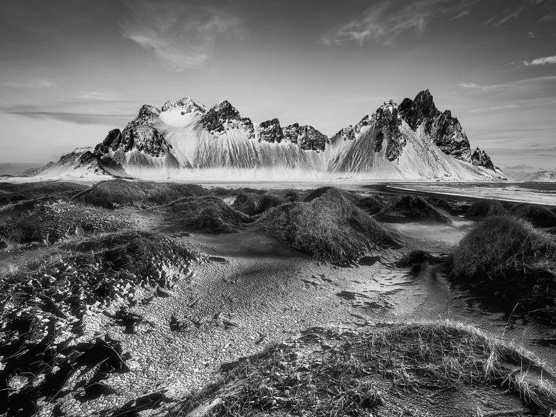 vestrahorn, iceland, winter, snow, black,white, moody, epic, island, peaks, mountain, sky, skies, Vestrahorn in Black & Whitephoto preview
