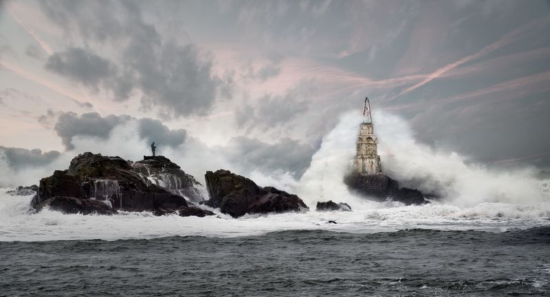 lighthouse, storm, big wave, fisherman, The Guardian of the Seaphoto preview