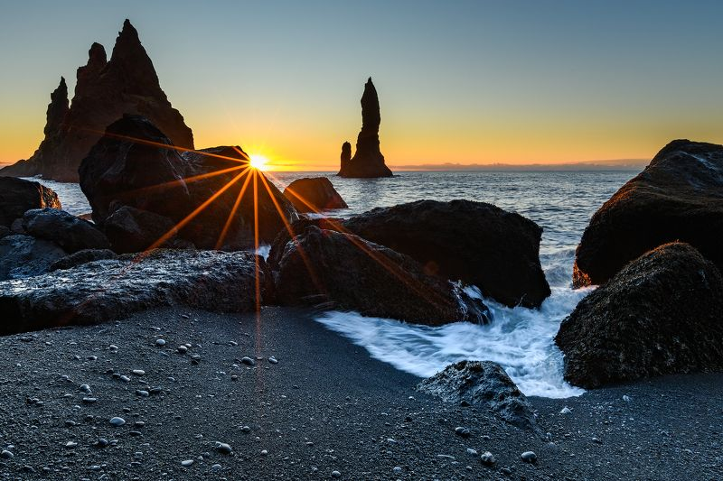 Black Sand Beach, Iceland, Sunrise, Sunset, Waves, Rocks, Sands, Sunstar, Nikon, Iceland, Island, Winter, Vik, Ocean, Clouds, Sky, Skies Black Sand Beach at Sunrisephoto preview