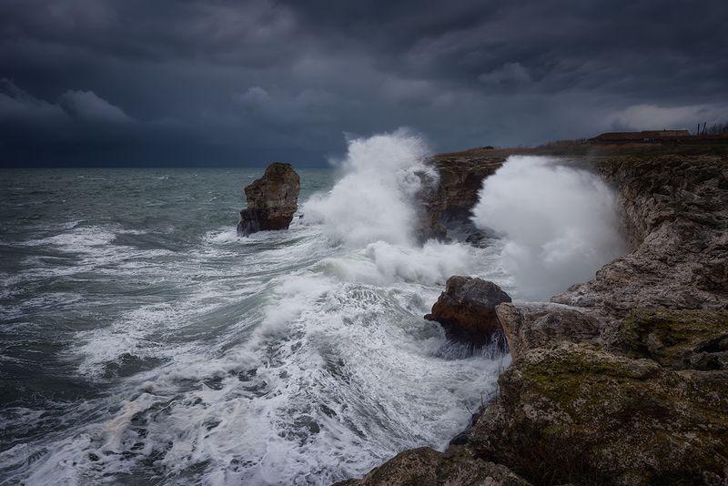 sea, seascape, waves, sky, clouds, cloudscape, landscape, rocks, cave, bulgaria Angry seaphoto preview