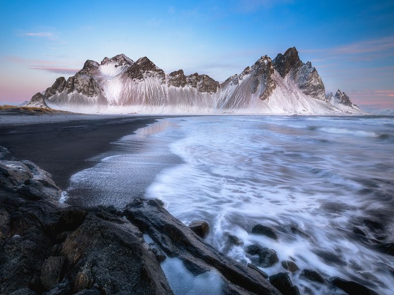 Cold, Sunrise, Sunset, Vestrahorn, Iceland, Beach, Snow, Winter, Epic, Dreamy, Dramatic, Skies, Sky, Waves, Clouds, Ocean Freezing Sunrise At The Beachphoto preview