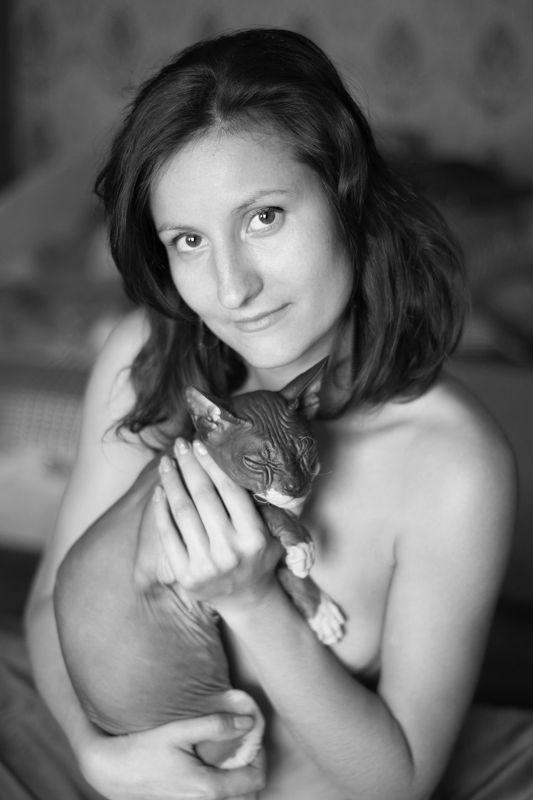 портрет женский портрет девушка кошка ...photo preview