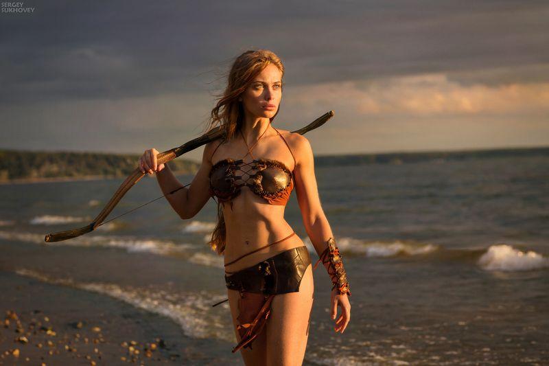 амазонка, воительница, воин, лук, лучница, девушка воин, море, бикини, стрелок, фентези, девушка с оружием Амазонка фото превью