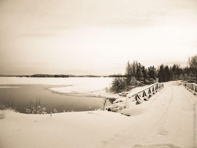 #photobydmitrygorkovets #blackandwhite #bridge #karelia #russia #winter #sunrise #sepia Перед рассветом на мосту на Унутозере. Before sunrise on the bridge near Unut lake. photo preview