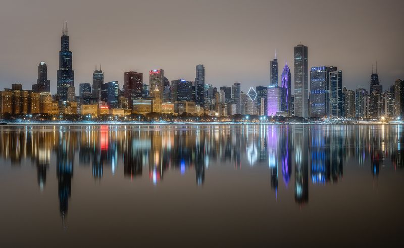 City, Skyline, Dreamy, Dramatic, Epic, Reflection, Cityscape, Lights, Moody, Chicago, Downtown, Beautiful,  Chicago Skylinephoto preview