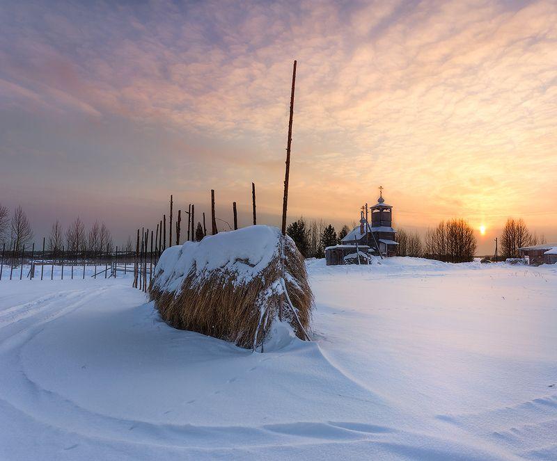 пинега, остров, церковь, зима, деревня, пейзаж, рассвет ***photo preview