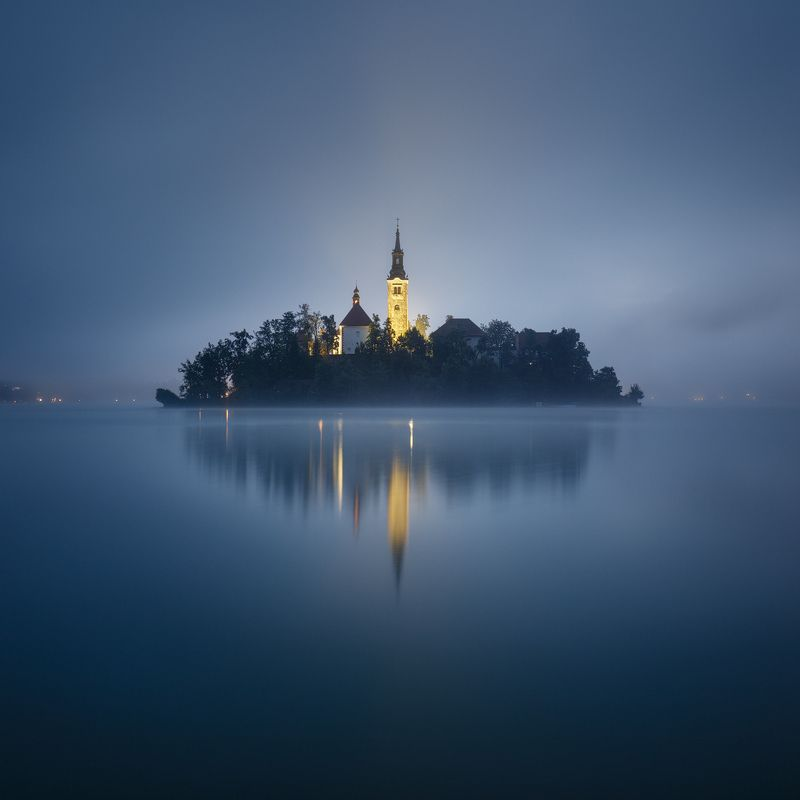 island, bled, lake, slovenia, square, reflection, mirroring, fog, mist, morning, europe, church, tower, mood Mysterious Islandphoto preview