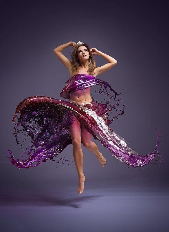 girl, color, water, splash, jump, dress, gotovo ~~~photo preview