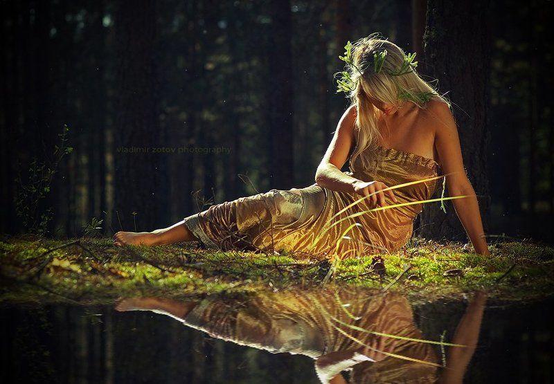 девушка, нимфа, лес, озеро, зеркало, готово Зеркало для нимфыphoto preview
