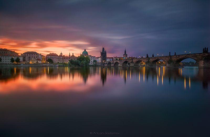 прага, мост, карлов, рассвет, выдержка, отражение, вода, река, город, praha, sunrise Прага, Карлов мостphoto preview