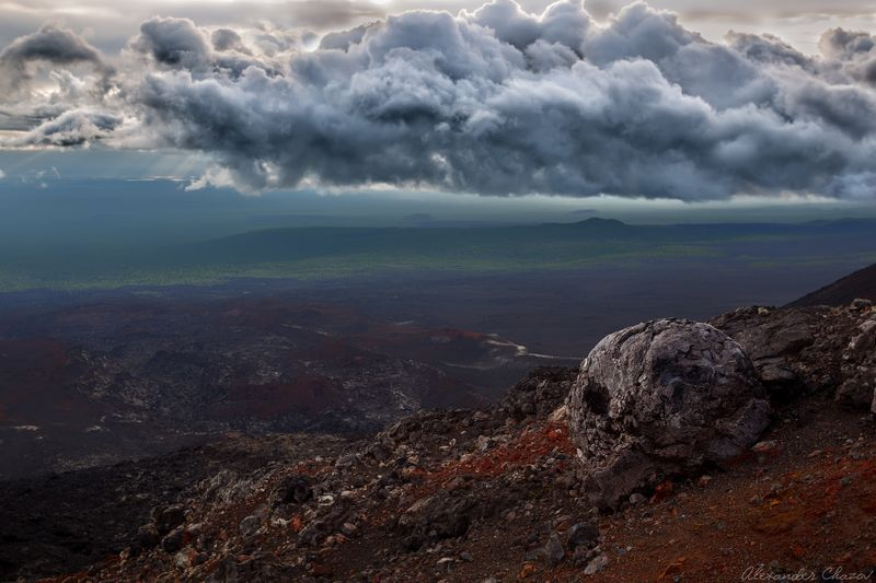 камчатка, вулкан, закат, облака, пейзаж, природа Вулканическая бомба \