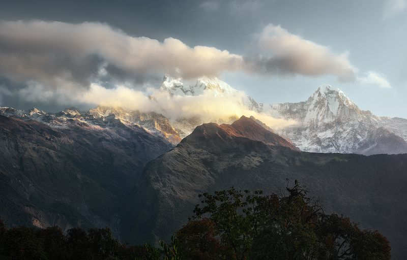 nepal, непал, горы, mountain; landscape; nature; sky; view; annapurna, dramatic, scenic; travel, Холодный рассветphoto preview
