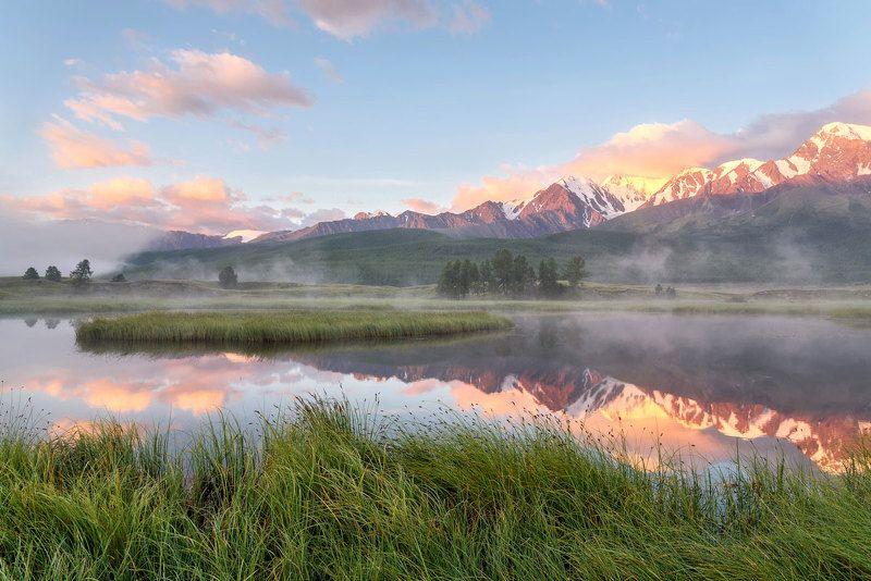 горы, счх, алтай, рассвет, восход, туман, озеро, лето, mountains, altai, dawn, sunrise, fog, lake, summer Летний рассвет на Ештыкельphoto preview