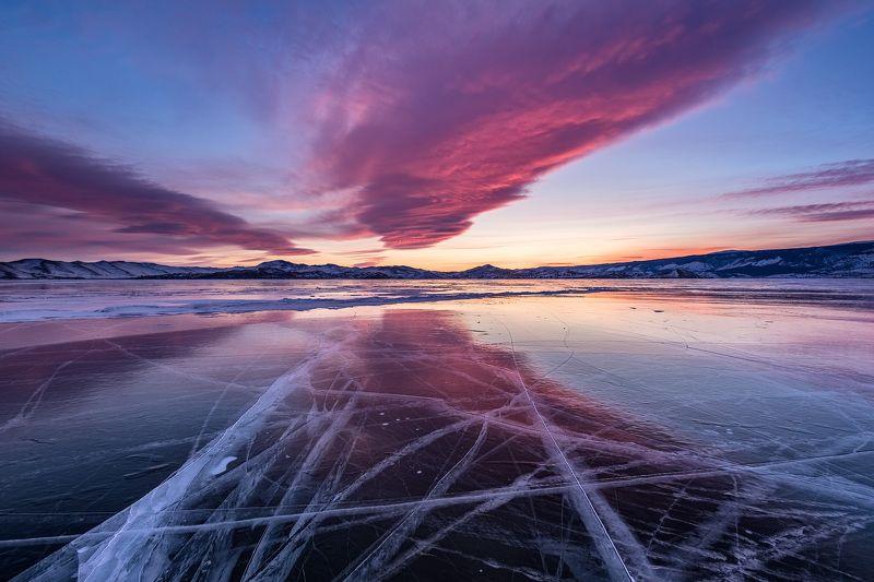 Байкал, зима, лёд, закат Байкальский закатphoto preview