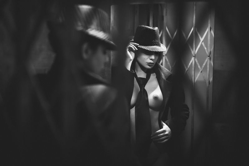sexy, model, night, city, fashion, erotic, lips, body, naked, black and white, classic The elevatorphoto preview