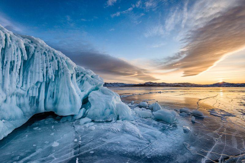 Байкал, Ольхон, зима, лёд, закат, пейзаж Байкальский закат 2photo preview