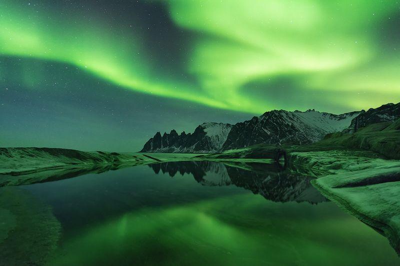 норвегия, сенья, аврора, полярное сияние, ночной пейзаж Аврора над Зубами дьяволаphoto preview