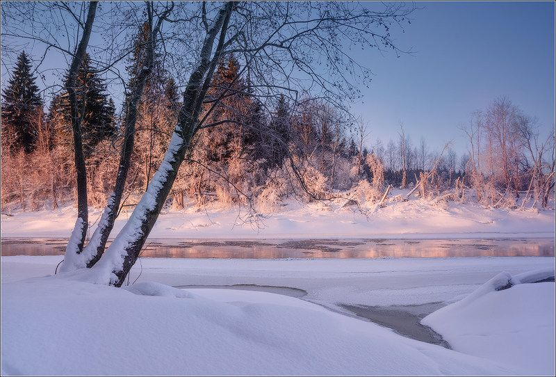 зима, закат, верхнедвинск, беларусь, река ***photo preview