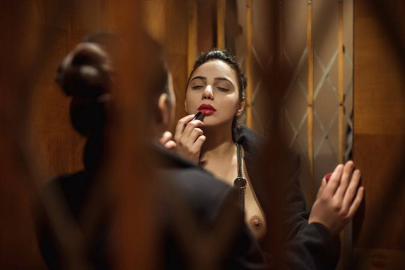 sexy, model, night, city, fashion, erotic, lips, body, naked, classic Lipstickphoto preview
