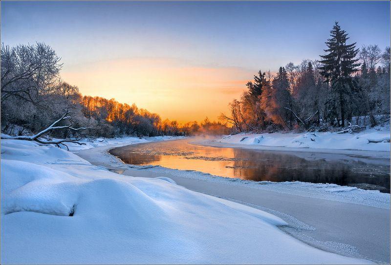 река, рассвет, зима, утро, беларусь ***photo preview