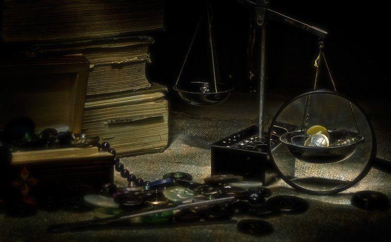 пуговицы, книги, лупа, весы Пиастры, пиастры...photo preview