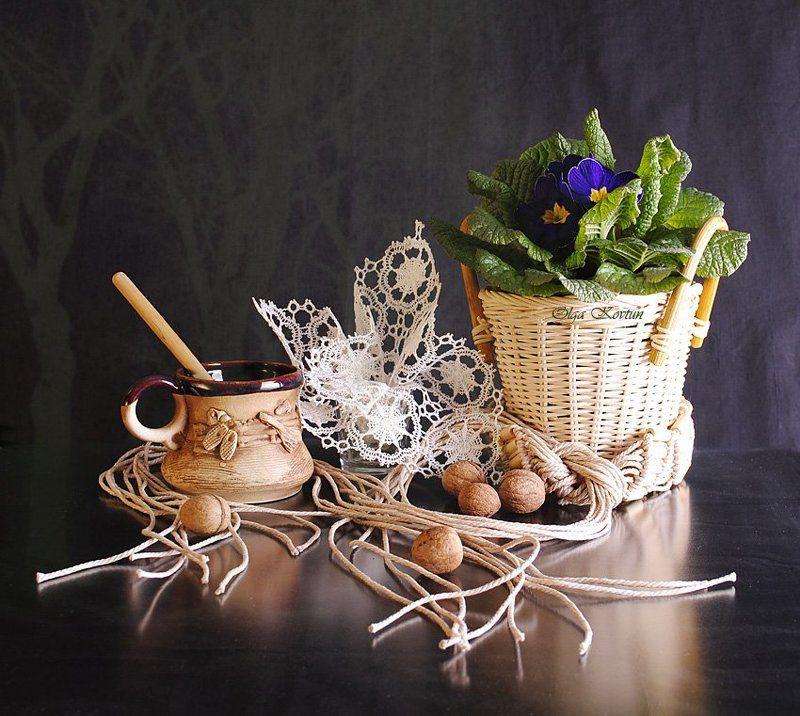 funtry, весна, корзинка, ложка, март, натюрморт, орехи, первоцвет, примула, фотонатюрморт, цветение, цветы, чашка С первоцветом!photo preview