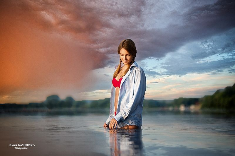 девушка, рассвет, река, солнце Татьянаphoto preview