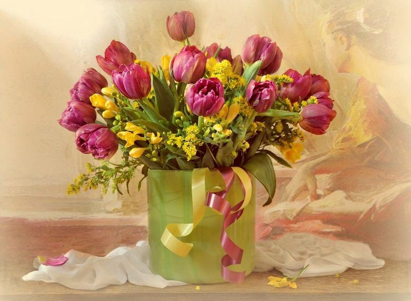 весна март цветы букет  праздник натюрморт С 8 Марта!photo preview
