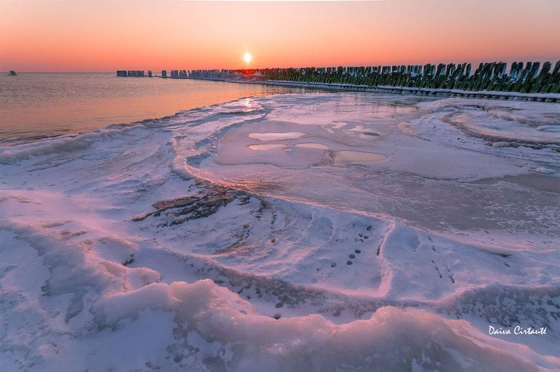 sunset,seascape,ice,frost Farewellphoto preview