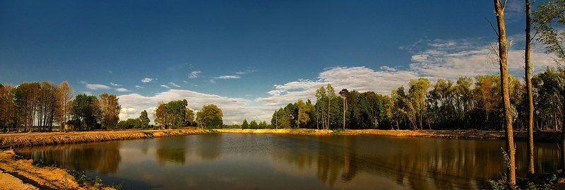 весна, природа, пейзаж, озеро, панорама В лучах заходящего солнца...photo preview