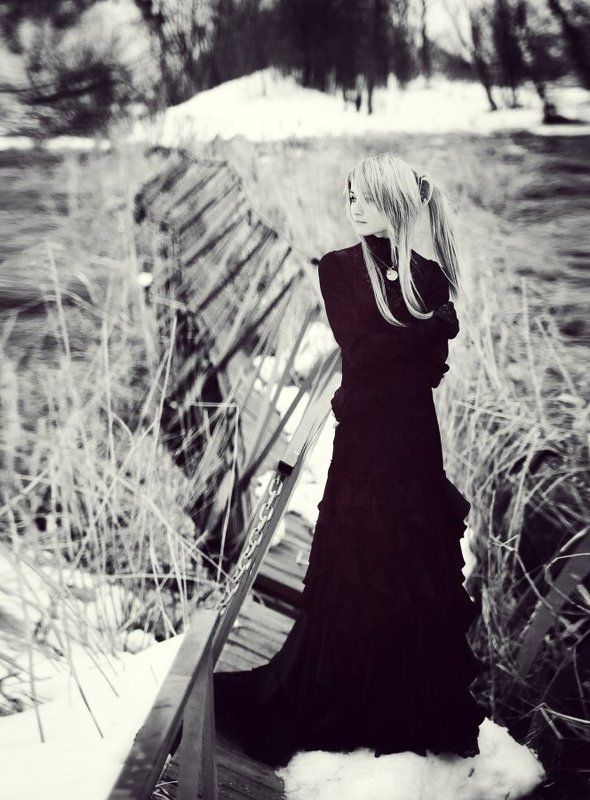 standing alone, lonely, girl, black dress, black and white ***photo preview