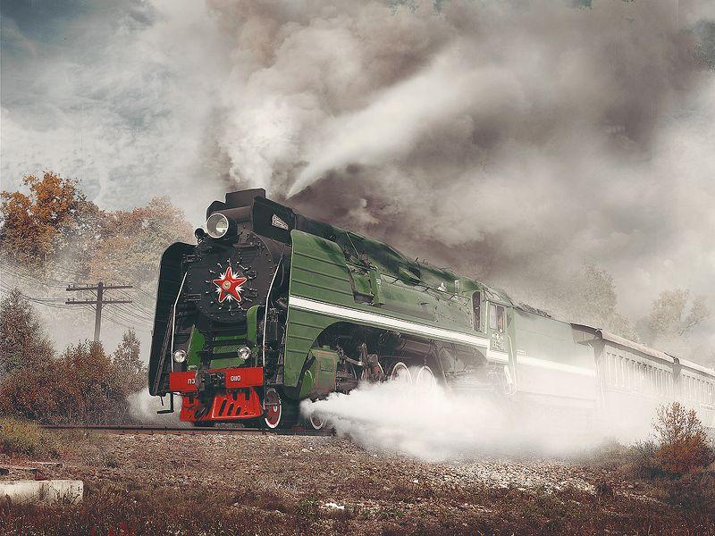 паровоз, серия, /п36, номер, 110, пассажирский поезд, осень 110-йphoto preview