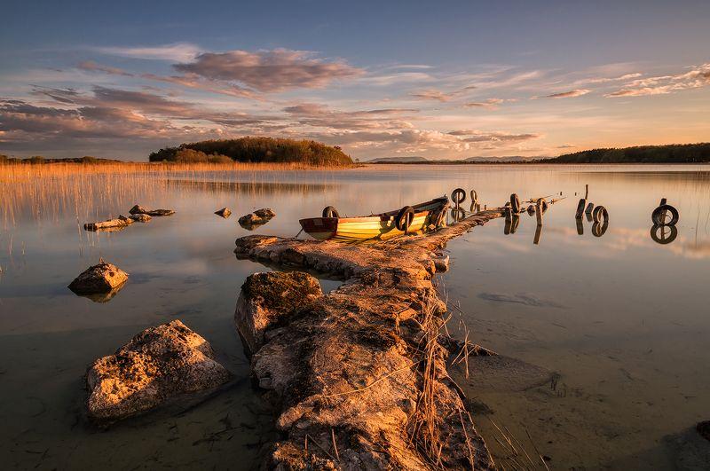 lake, ireland, pier, boat, sunset Lough Carraphoto preview