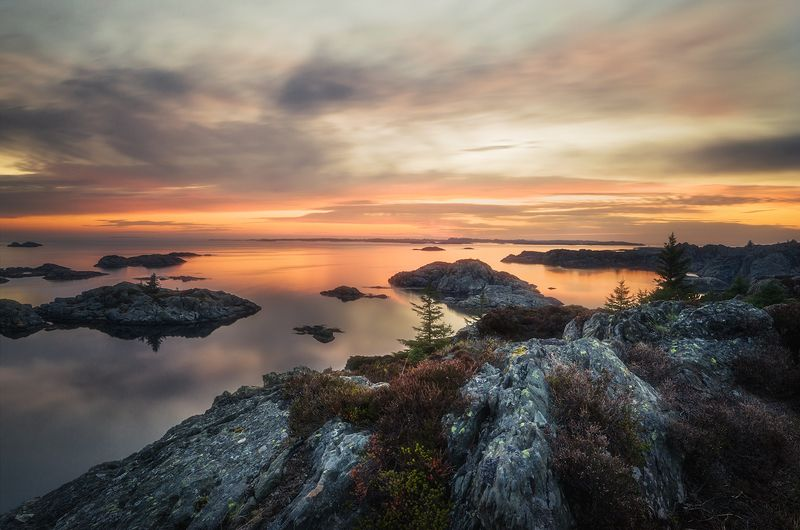 Sunset at the shore of Karmøyphoto preview