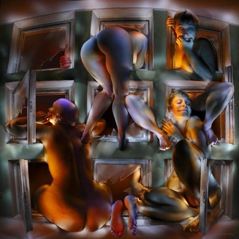 светографика, портрет, свет,  обнаженная_натура, роспись_по_телу, жанр, сюжет, ню, akt, окна Akt... Окна... (Светографика)photo preview