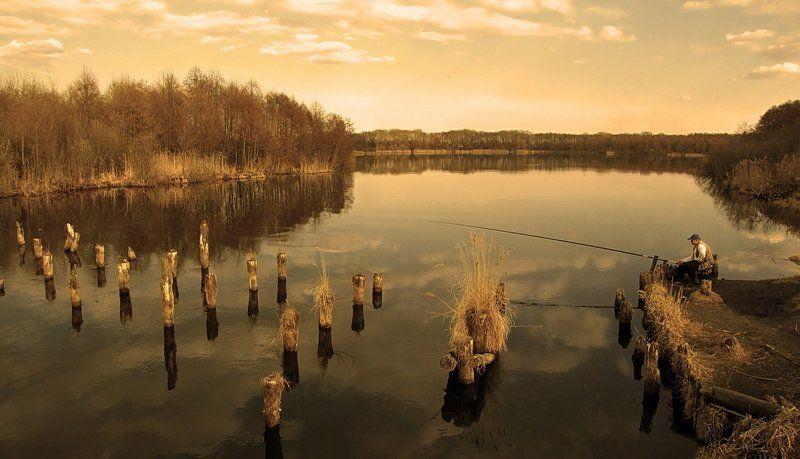 весна, природа, пейзаж, озеро На вечерней...photo preview