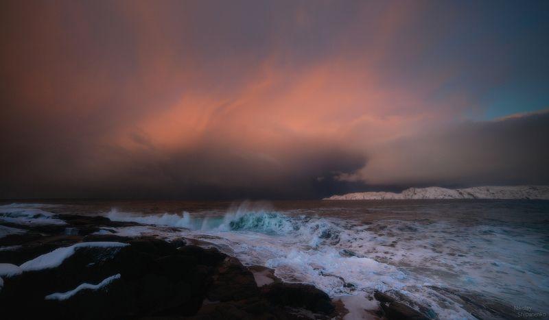 териберка, океан, кольский полуостров, тучи, берег, волны Драмаphoto preview