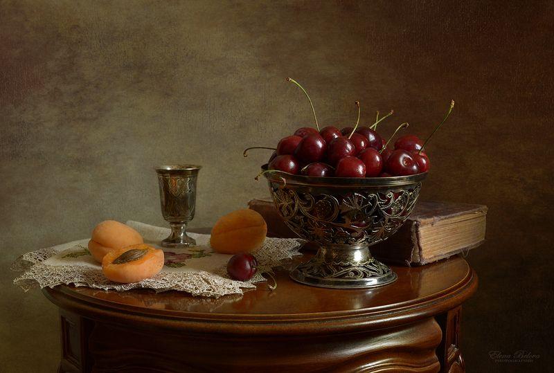 натюрморт, still life, елена белова С черешней и абрикосамиphoto preview