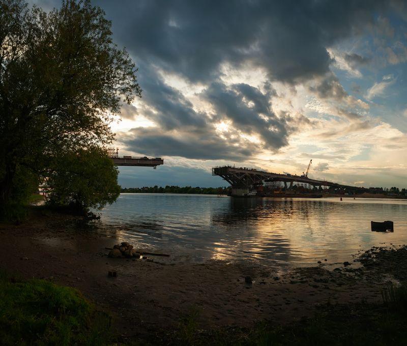 пейзаж,природа,река,волга,мост, Соединяют берега мосты.photo preview