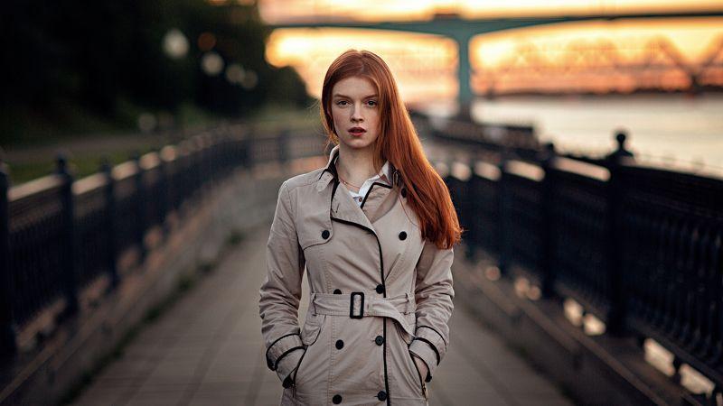 девушка, город, вечер, портрет, арт Sunset Ave.photo preview