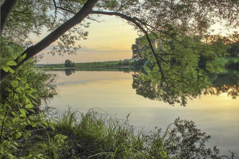 лето,пейзаж.закат,пруд, Тишина заката...photo preview