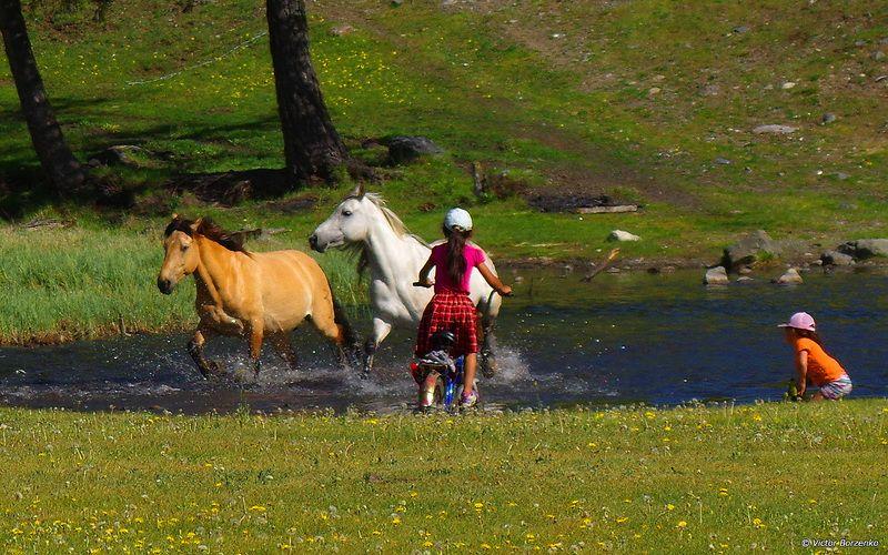 брод, река, дети , лошади Бродphoto preview