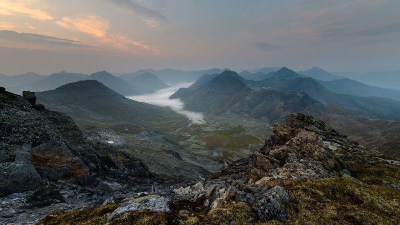 туман, горы, пейзаж, сумерки Туман в долинеphoto preview