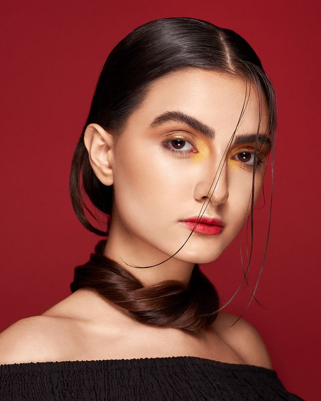 beauty, look, red, studio, lighting, makeup, ***photo preview